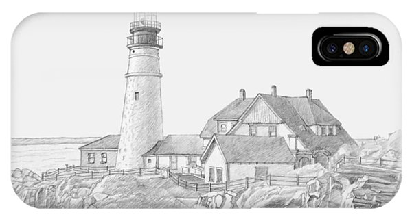 Portland Head Light Drawing IPhone Case