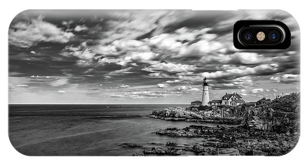 Portland Head Light In Black And White IPhone Case