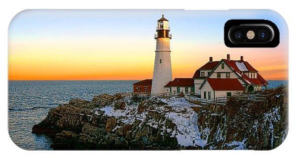 Portland Head Light Winter Sunset IPhone Case
