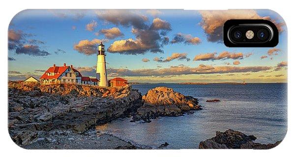 Navigation iPhone Case - Portland Head Lighthouse At Sunset by Rick Berk