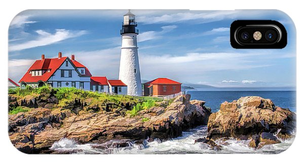 IPhone Case featuring the painting Portland Head Lighthouse by Christopher Arndt