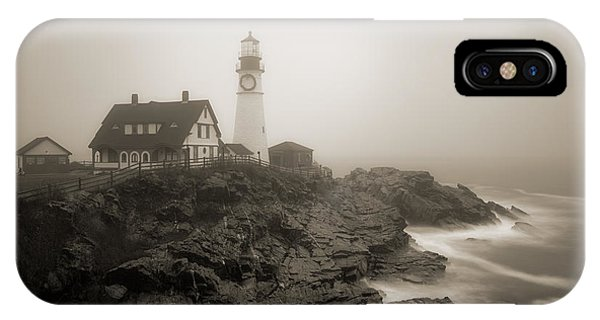 Portland Head Lighthouse In Fog Sepia IPhone Case