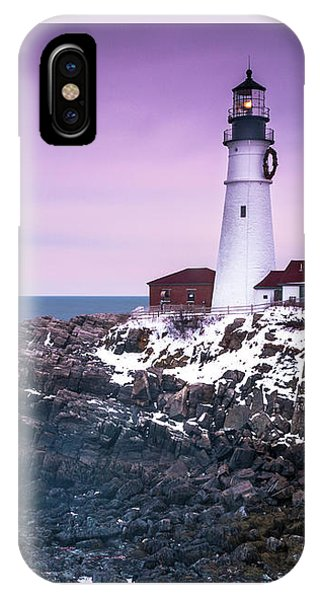 Maine Portland Headlight Lighthouse In Winter Snow IPhone Case