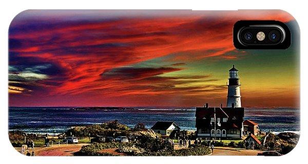 Portland Headlight Lighthouse At Sunset, Maine IPhone Case