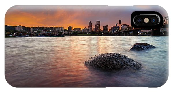 Portland Skyline Along Willamette River At Sunset IPhone Case