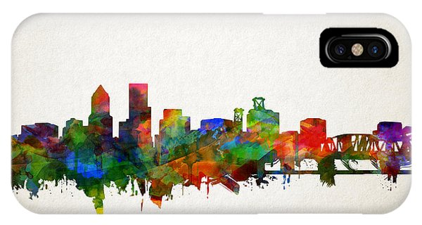 Portland Skyline Watercolor 5 IPhone Case