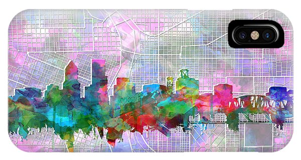 Abstract Digital iPhone Case - Portland Skyline Watercolor 6 by Bekim Art