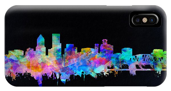 Abstract Digital iPhone Case - Portland Skyline Watercolor by Bekim Art
