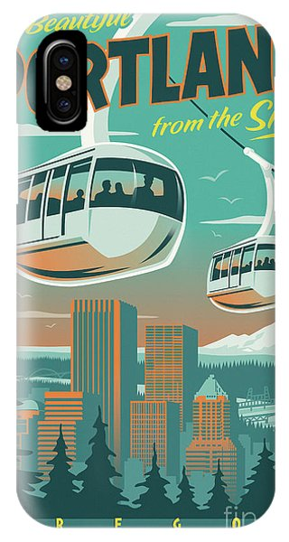 Vintage iPhone Case - Portland Poster - Tram Retro Travel by Jim Zahniser