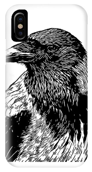 Raven iPhone Case - Portrait Of A Crow With Head Turned Looking In Black And White I by Philip Openshaw