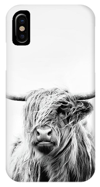 Cow iPhone X / XS Case - Portrait Of A Highland Cow - Vertical Orientation by Dorit Fuhg
