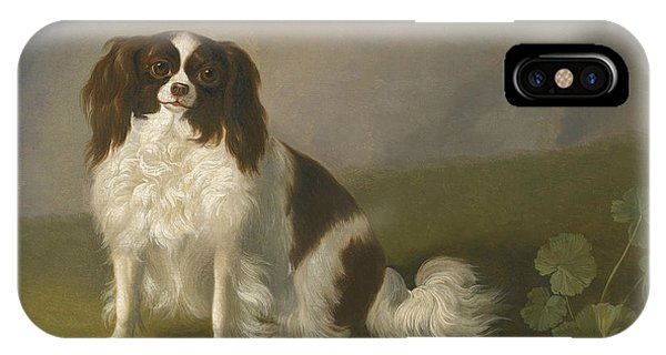 King Charles iPhone Case - Portrait Of A King Charles Spaniel In A Landscape by Jacob Philipp Hackert
