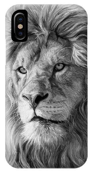 Portrait Of A Lion - Black And White IPhone Case