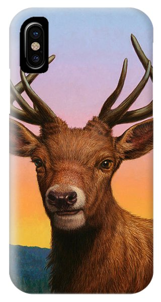 Buck iPhone Case - Portrait Of A Red Deer by James W Johnson