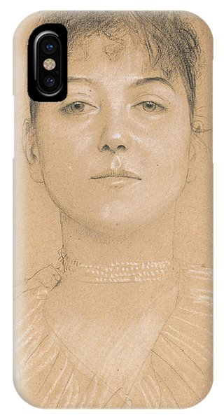 Pastel Pencil iPhone Case - Portrait Of A Woman by Gustav Klimt