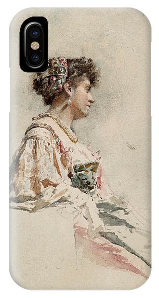 Impressionistic iPhone Case - Portrait Of A Young Woman by Mariano Fortuny