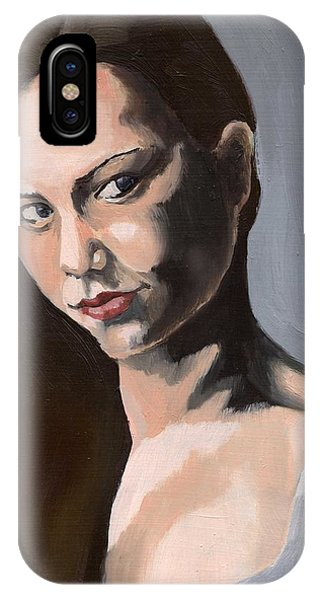 IPhone Case featuring the painting Portrait Of Amanda by Stephen Panoushek