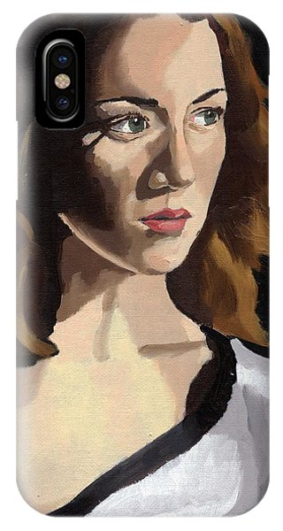 IPhone Case featuring the painting Portrait Of Becca by Stephen Panoushek