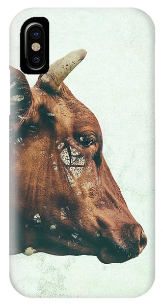 Cow iPhone Case - Portrait Of Bess by Katherine Smit