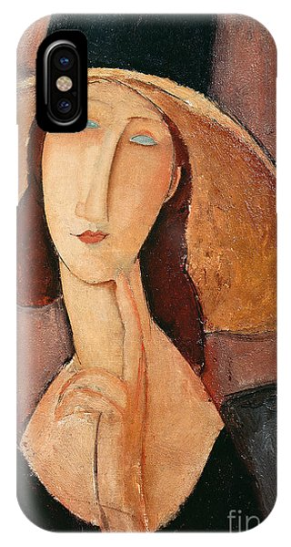 Portraits iPhone X Case - Portrait Of Jeanne Hebuterne In A Large Hat by Amedeo Modigliani