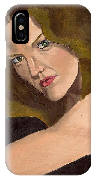 IPhone Case featuring the painting Portrait Of Kathy Arvidson by Stephen Panoushek