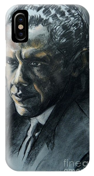 Charcoal Portrait Of President Obama IPhone Case