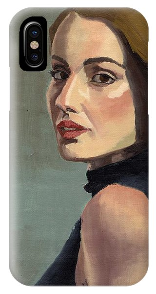 IPhone Case featuring the painting Portrait Of Rachel Christine by Stephen Panoushek