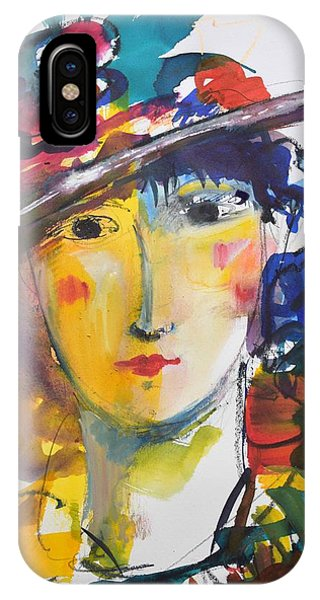 Portrait Of Woman With Flower Hat IPhone Case