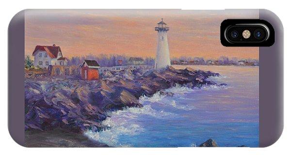 Portsmouth Lighthouse Sunset Peaceful  Coastal Painting IPhone Case