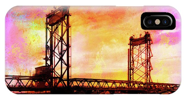 Portsmouth Memorial Bridge Abstract At Sunset IPhone Case