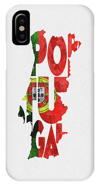 Portugal Typographic Map Flag IPhone Case