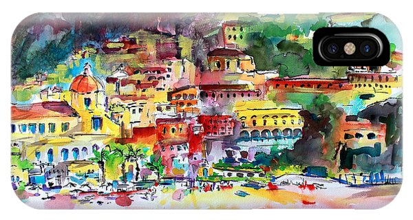 Amalfi Coast Positano Summer Fun Watercolor Painting IPhone Case