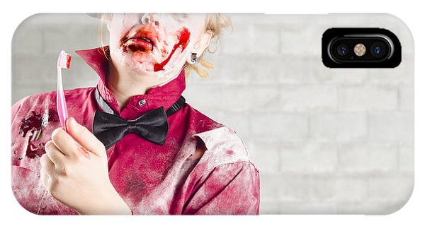 Anguish iPhone Case - Possessed Girl With Bloody Toothbrush. Gum Disease by Jorgo Photography - Wall Art Gallery