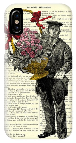 Bouquet iPhone Case - Postman Delivering Bouquet Of Flowers by Madame Memento