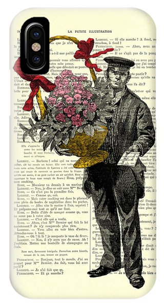 Cupid iPhone Case - Postman Delivering Bouquet Of Flowers by Madame Memento