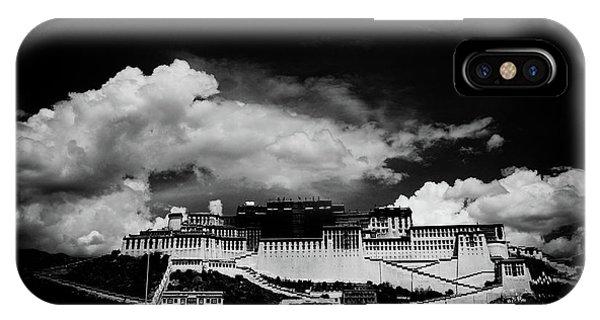 Kora iPhone Case - Potala Palace Bw. Lhasa, Tibet. Yantra.lv by Raimond Klavins