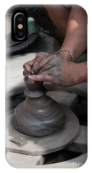 Hand Thrown Pottery iPhone Case - Potters Hands Crafting A Clay Ceramic Pot by Georgia Evans