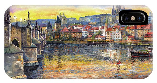 Oil iPhone Case - Prague Charles Bridge And Prague Castle With The Vltava River 1 by Yuriy Shevchuk