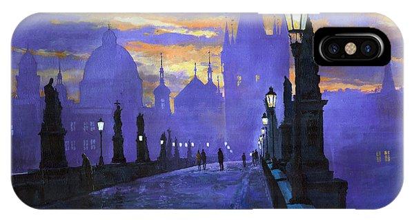 Sunrise iPhone Case - Prague Charles Bridge Sunrise by Yuriy Shevchuk