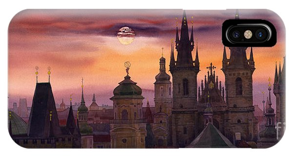Watercolour iPhone Case - Prague City Of Hundres Spiers by Yuriy Shevchuk