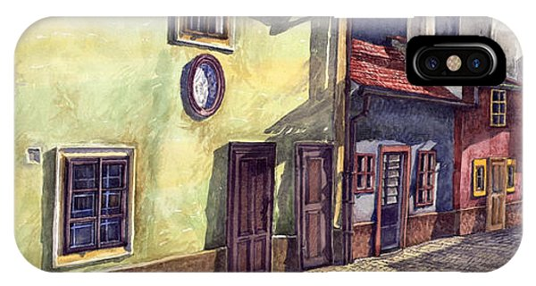 iPhone Case - Prague Golden Line Street by Yuriy Shevchuk