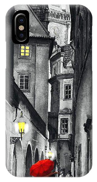 Red iPhone X Case - Prague Love Story by Yuriy Shevchuk