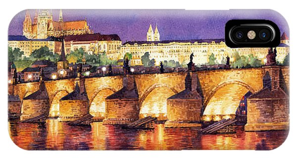 Panorama iPhone Case - Prague Night Panorama Charles Bridge  by Yuriy Shevchuk