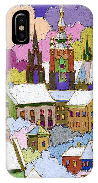 Castle iPhone Case - Prague Old Roofs Prague Castle Winter by Yuriy Shevchuk