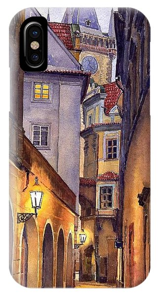 City Scenes iPhone Case - Prague Old Street  by Yuriy Shevchuk