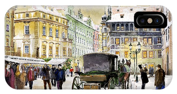 Cab iPhone Case - Prague Old Town Square Winter by Yuriy Shevchuk