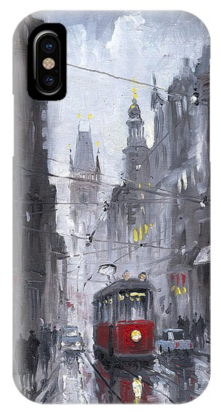 Old Houses iPhone Case - Prague Old Tram 03 by Yuriy Shevchuk