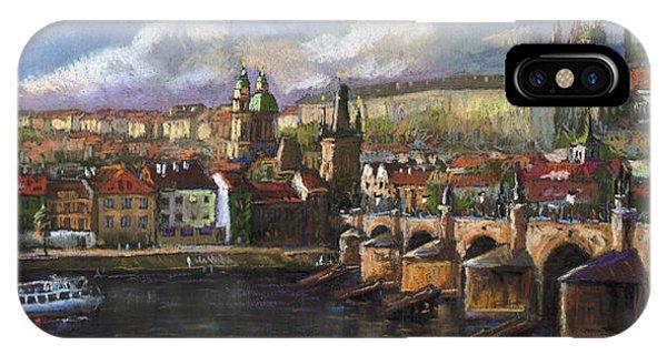 Pastel iPhone Case - Prague Panorama Charles Bridge Prague Castle by Yuriy Shevchuk