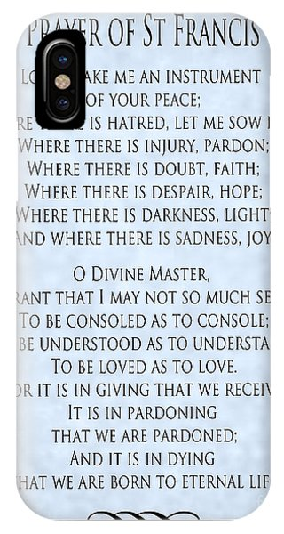 Prayer Of St Francis - Pope Francis Prayer - Blue-grey Parchment IPhone Case