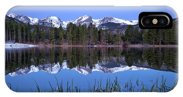 Pre Dawn Image Of The Continental Divide And A Sprague Lake Refl IPhone Case